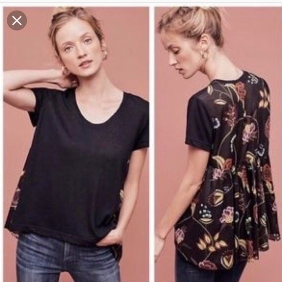 Anthropologie Tops - Deletta Black Floral Swing Back Blouse Size M—D1
